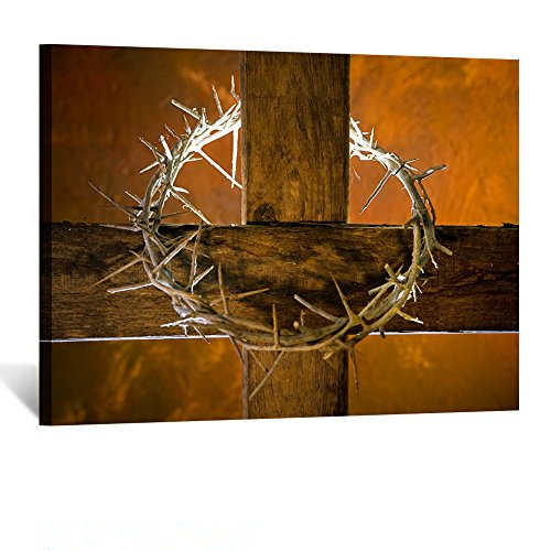 Kreative Arts - Canvas Prints Wall Art Crown of Thorns Hanging on a Wooden Cross at Easter Modern Religious Posters Home Decoration Stretched Gallery Canvas Wrap Giclee Print Ready to Hang 24x32Inch