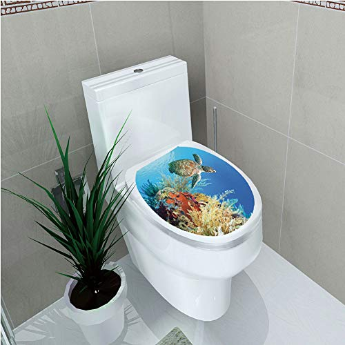 Toilet Applique,Turtle,Colorful Underwater with Turtle Swimming Among The Coral Reef Scenic Exotic View,Multicolor,Custom Sticker,W12.6
