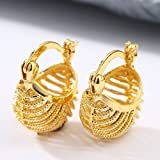 18K Yellow Gold Filled Wedding Bridal Ear Stud Hoop Dangle Earring Women Jewelry