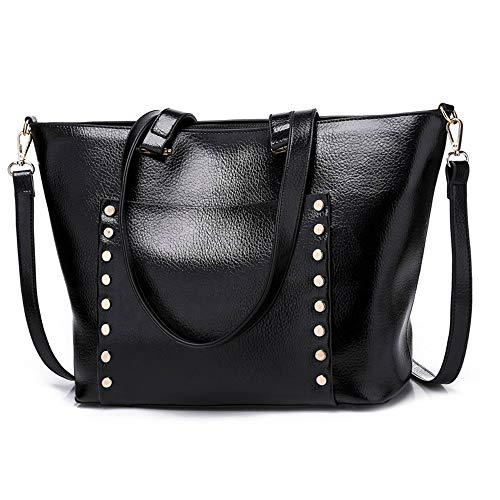 (Mn&Sue Fashion Rivet StuddedPu Leather Handbags for Women Large Capacity Designer Ladies Hobo Bag Purse (Black))