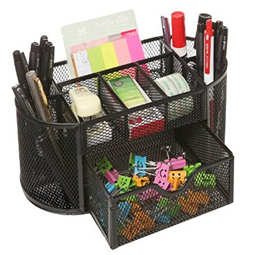 Space Saving Desk Tidy Multi-functional Metal Wire Mesh 9 Compartment Office / School Supply Desktop Organizer Caddy W/ Large Drawer (Black)