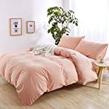 Solid Pink Girls Duvet Cover Set Full Queen 100% Washed Cotton Duvet Cover Set for Kids Adults Hotel Quality Luxury Bedding Set 1 Duvet Cover with 2 Pillow Shams Teens Children Bedding Cover Set