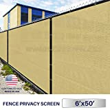 Windscreen4less Heavy Duty Privacy Screen Fence in Color Beige with White Strips 6' x 50' Brass Grommets w/3-Year Warranty 130 GSM (Customized Sizes Available)