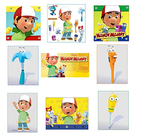9 Handy Manny stickers, favors, party supplies, labels, birthday, decorations, crafts, scrapbooking, rewards - Handy Manny Party Treat