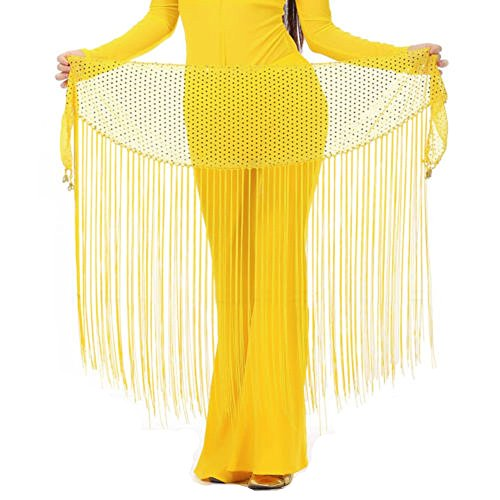 (MUNAFIE Belly Dance Hip Scarf Tassel Hip Scarves Skirt Yellow)