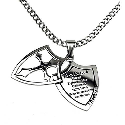 Man of God Necklace Two Piece Cross Shield, Stainless Steel, Christian Bible