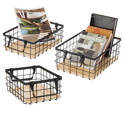 MyGift Black Wire Nesting Storage Baskets with Removable Wood Inserts, Set of 3 ()