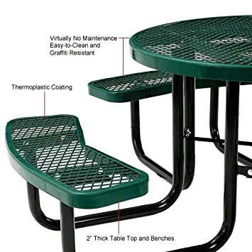 Lifeyard 46 Expanded Metal Mesh Commercial Round Green Picnic Table and Benches Steel Frame for Outdoor Furniture