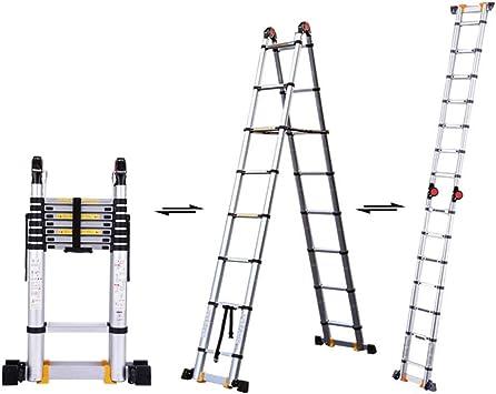 XC Multifuncional Escaleras telescópicas- Escalera telescópica del hogar, escalera plegable de aluminio de aleación de espesamiento, en espiga multifunción portátil Ingeniería Escaleras de elevación: Amazon.es: Bricolaje y herramientas