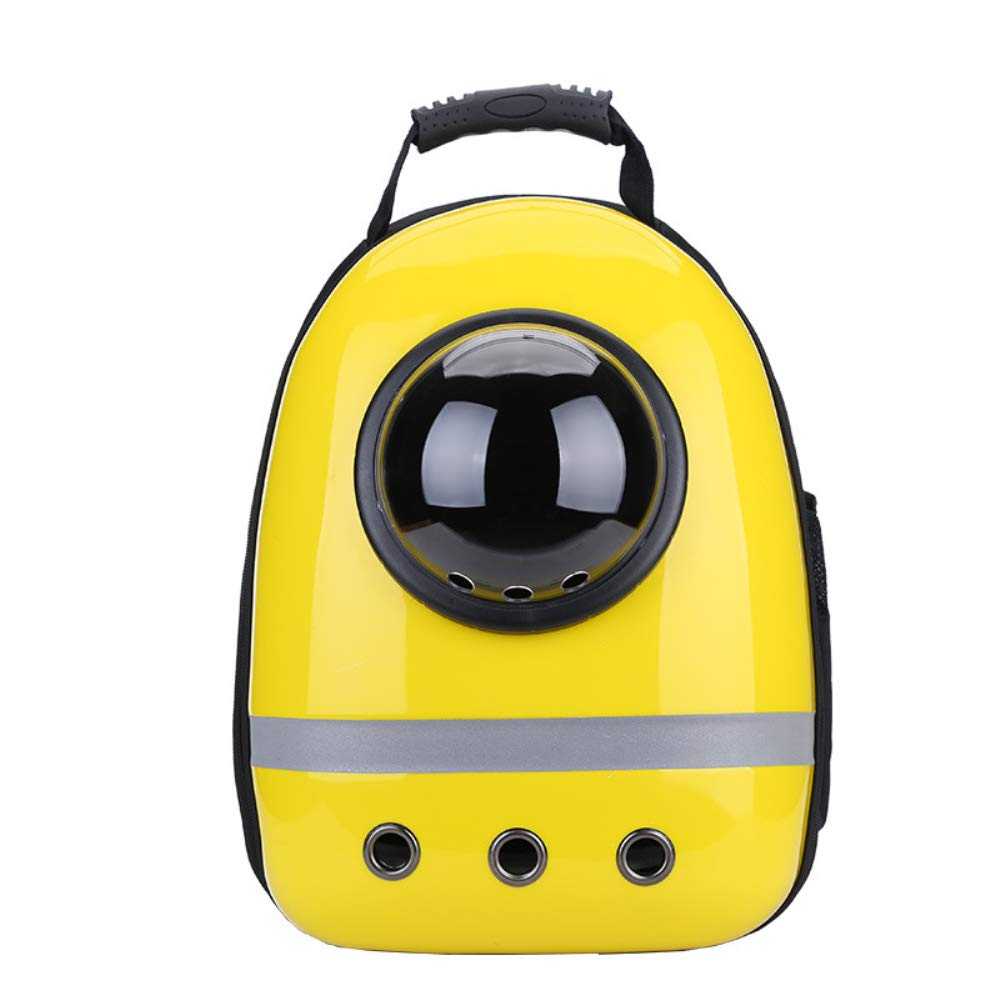 Pet Backpack, Dog and Cat Out Travel Portable Breathable Shoulder Bag, 43  30  22Cm, Yellow, Add Reflective Strip