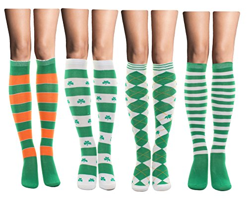 St Patrick S Day Irish Shamrock Crew Socks Size 9 11 Knee