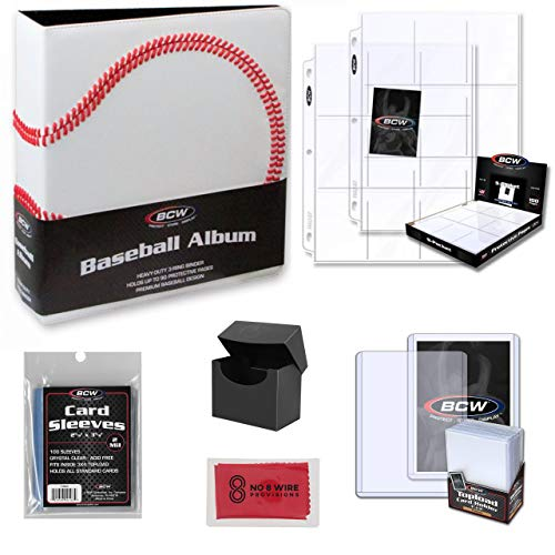 BCW Baseball Trading Card Collectors Binder and Storage Kit - Pocket Pages, Topload Card Holders, Card Sleeves and Cleaning Cloth