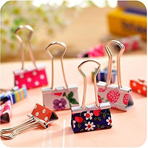 Pack of 24 Binder Clips, Lovely Cute Printing Style Metal Paper Clips Clamps (Pack of 24(25mm)) -