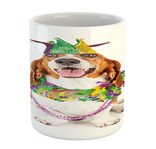 Ambesonne Mardi Gras Mug, Happy Smiling Basset Hound Dog Wearing a Jester Hat Neck Garland Bead Necklace, Printed Ceramic Coffee Mug Water Tea Drinks Cup, Multicolor