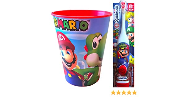 Amazon.com: Super Mario Childrens Oral Hygiene Set Includes Super Mario Rinsing Cup with Super Mario Powered Toothbrush: Health & Personal Care