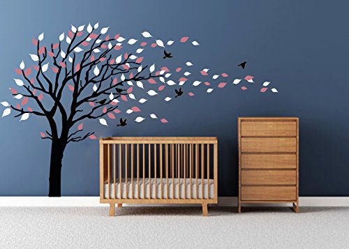 LUCKKYY Tree Blowing in the Wind Tree Wall Decals Wall Sticker Vinyl Art Kids Rooms Teen Girls Boys Wallpaper Murals Sticker Wall Stickers Nursery Decor Nursery Decals (Black+white)