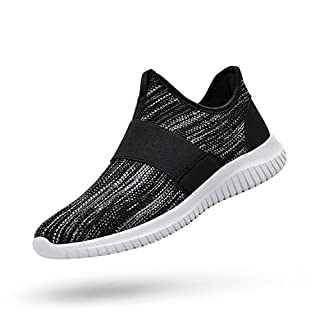 Feetmat Mens Sneakers Slip On Tennis Workout Shoes Mesh No Lace Lightweight Gym Running Sneakers Black Grey 7.5