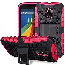 Fosmon® Motorola Moto G (2nd Gen, 2014) Case (HYBO-RAGGED) Detachable Hybrid Tough Dual Layer Case Cover Shell with Kickstand for Motorola Moto G (2nd Gen, 2014) - Fosmon Retail Packaging (Hot Pink)