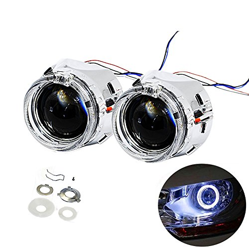 YUFANYA 2.5 Inch H1 Headlight 8.1 Ver Bixenon Projector Lens HID Hi/Lo Beam With White CREE LED Angel Eyes,Halo Rings Day Running Lights Function,Chrome Shrouds Mask,Fit H1 H4 H7 Car Motorcycle