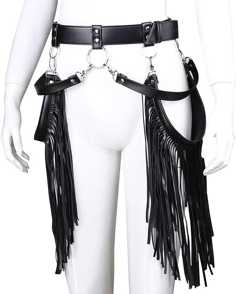 Amosfun Pu Leather Punk Harness Belt Fringe Tassel Waist Belts Adjustable Waistband Skirt Belt Halloween Costume