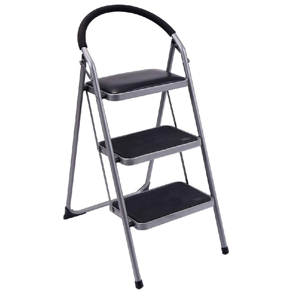 3-Step Ladder Lightweight Folding Stool Platform Foldable Tool Office Retail Stores