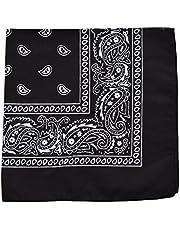 One Piece Novelty Bandanas Paisley Cotton Handkerchief (Black)