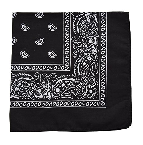 - Raylarnia Novelty Bandanas Paisley Cotton Bandanas-Black