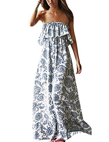 MIDOSOO Womens Off The Shoulder Strapless Blue and White Porcelain Maxi Long Dress with Pockets Blue&White (Long Strapless Print Dress)