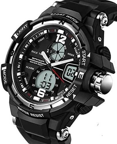 Boys Watch Digital Analog Outdoor Sports Stopwatch Watches For Running Hinking Black+Silver