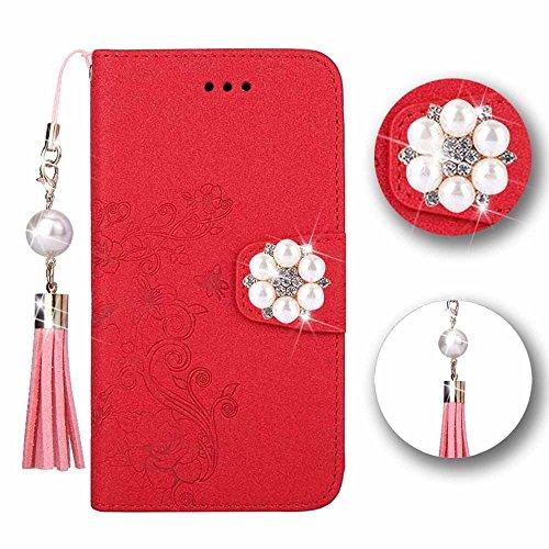 Xperia XA1 Hülle [Magnetisch & Abnehmbar], Bunt Leder Brieftasche Handytasche mit 5 Kartenfächer & Geprägte Rose und Schmetterling, Klappbar Schutzhülle für Sony Xperia XA1, Glitzer Gold Glitzer Rot
