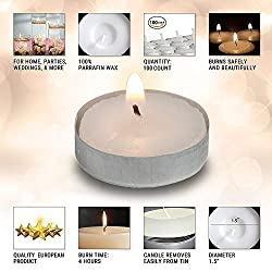 Hyoola Tea Lights Candles - 100 Bulk Candles Pack - European Quality White Unscented Tealight Candles - 4 Hour Burn Time