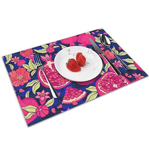 Juego de 4 manteles individuales para mesa de comedor, color rojo granada y hermosa bandeja de flores, lavable para cocina, mesa de cena, suave y ligero
