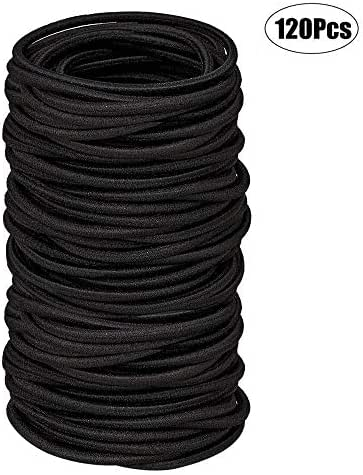 Black Elastic Hair Bands 120 Pcs Rubber Hair Ties for Thick Heavy and Curly Hair,No Metal Ponytail Holder,4mm