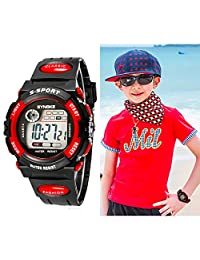 Vakind Multifunction Waterproof Child Boy Girl Sports Electronic Wrist Watch (red)