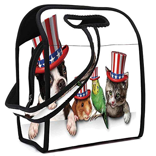 (Fourth of July Waterproof Neoprene Lunch Bag,Cute Pet Animal Dog Cat Bird and Hamster with American Hat Celebration Image Decorative for Commercial Takeaway Barbecue,Square(8.5''L x 5.5''W x)