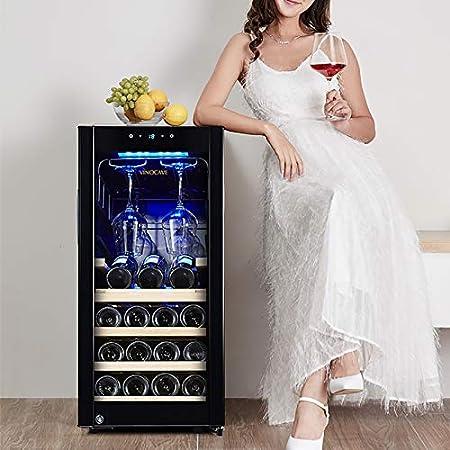 CLING Enfriador de Vino de 15 Botellas 90 litros Absorción silenciosa Impactos Bloqueo de luz Refrigerado por Aire sin Escarcha Refrigerador de Vino Empotrado o Independiente
