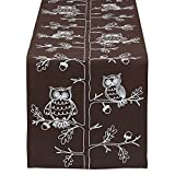 DII 14x70'' Polyester Table Runner, Embroidered Owls - Perfect for Fall, Thanksgiving, Catering Events, or Everyday Use