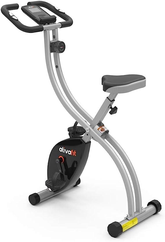 ATIVAFIT Bicicleta Estática Plegable Magnética X-Bike Pulsómetro Y Pantalla LCD, Resistencia Variable, Pedales de Máximo Agarre, Adultos Unisex: Amazon.es: Deportes y aire libre