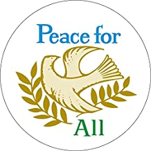 Peace For All With Dove And Olive Branches - Button / Pinback