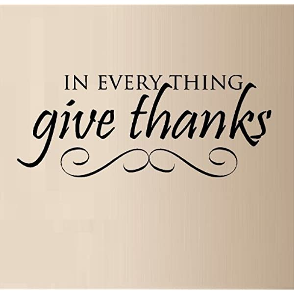Kitchen Wall Decal Give Thanks Sign Wall Decal Wall Sticker Vinyl Decal Give thanks with a grateful heart Living Room Wall Art
