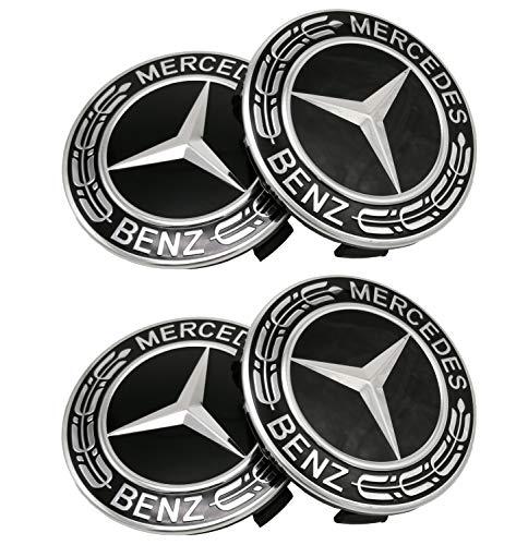 Powertech Mercedes Benz Wheel Center Caps Emblem Hubcaps 4pcs (Black)