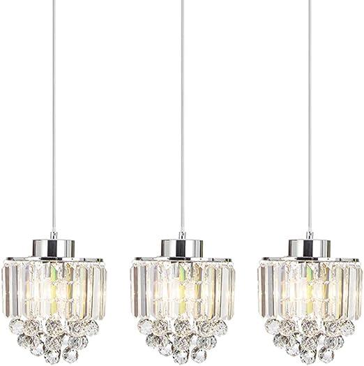 COTULIN Set of 3 Polished Decorative Crystal Pendant Light,Chandelier for Kitchen Island Dining Room Living Room Bar