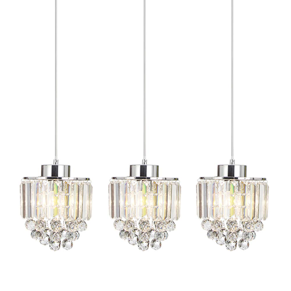 COTULIN Set of 3 Polished Pendant Light Decorative Pendant Lighting Fixture Cord Adjustable Crystal Chandelier Pendant Light,Ceiling Light for Living Room Dining Room Bar