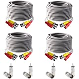 ISEEUSEE BNC Video Power Cable, 4 Pack 60 Feet Pre-made All-in-One Video Security Camera Extension Cable Wire for CCTV DVR Surveillance System, BNC Connectors and RCA Adapters included