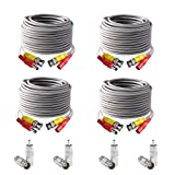 ISEEUSEE BNC Video Power Cable, 4 Pack 60 Feet Pre-made All-in-One Video Security Camera Extension Cable Wire for CCTV DVR Surveillance System, BNC Connectors and RCA Adaptersincluded