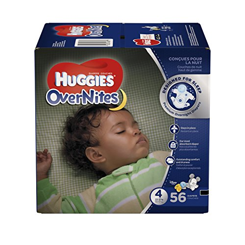 (HUGGIES OverNites Diapers, Size 4 (22-37 lb), Overnight Diapers, 56 Count)