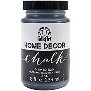 FolkArt Home Decor Chalk Furniture & Craft Paint in Assorted Colors (8 Ounce), 34169 Rich Black