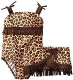 Bunz Kids Little Girls'  Leopard One-Piece Swimsuit and Skirt Set