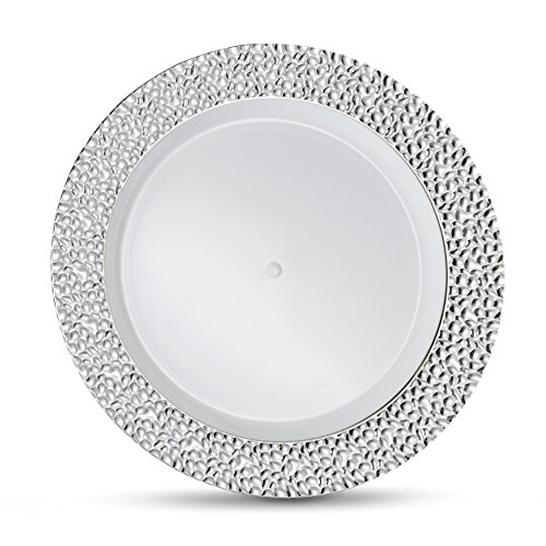 Hammered Plate - Laura Stein Designer Tableware Premium Heavyweight 7'' Inch White Plate And Hammered Silver Rim Plastic Party & Wedding Plates Glitz Series Disposable Dishes Pack of 40 Plates