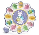 Ceramic Easter Egg Holder Plate Platter Bunny Tray Holds 12 Eggs
